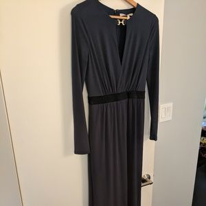 Halston Heritage Navy Blue Long Sleeve Jersey Gown